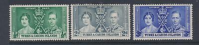 Turks & Caicos  1937  Coronation SG191-3  - mounted mint set of 3