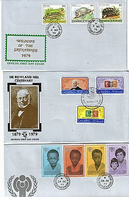 St Vincent Grenadines 1979  3 FDC's - Rowland Hill,Wildlife & Year of t Child