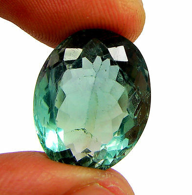 20.35 Ct Natural Green Fluorite Loose Gemstone Oval Cut Stone - 10878