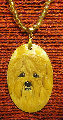 Lhasa Apso hand painted on oval Gold Lip Shell pendant/bead/necklace
