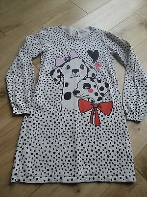 Girls H&m Age 6 - 8 Long Jumper Dress Animal Print With Dalmatian Dogs
