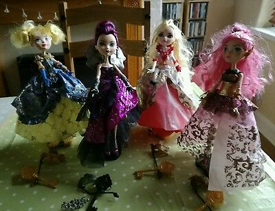 ever after high 4 dolls bundle throne coming with accessories raven apple white