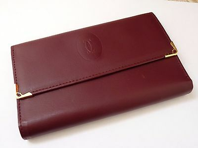 Cartier Vintage Burgundy Ladies Leather Clutch Purse / Wallet with Box
