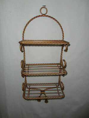 Home Interiors '' Gold Metal Twisted 3- Tire Wall Shelf   Gorgeous