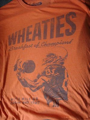 Great Retro Distressed Style Wheaties Football T-Shirt, Size Medium, Nice Shape!