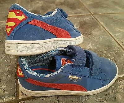 Boys Suede Puma Superman Trainers Size UK 13 Blue and Red Superhero
