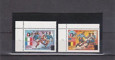 YEMEN 1993 Surch 200R on W.Cup FOOTBALL Italy (Mi.A120, A125) RARE stamps MNH