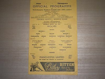 Wolverhampton Wanderers Res V Manchester United Res 1966-67