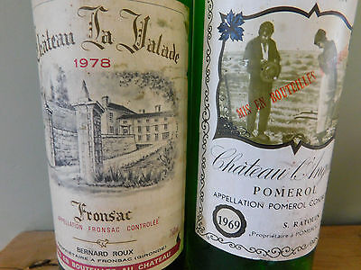 Vintage Collectible French Wine Bottles 1969 / 1978 Empty Chateau L'Angelus