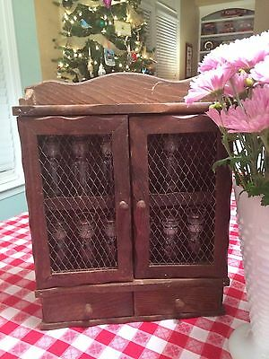 Vintage Wood Spice Rack With 2 Doors 2 Drawers & 11 Glass Jars With Glass Lids