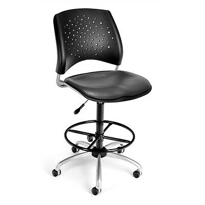 OFM Stars Swivel Vinyl Chair with Drafting Kit, Charcoal
