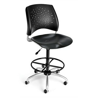 OFM Stars Swivel Plastic Chair with Drafting Kit, Black