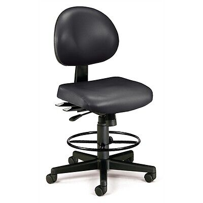 OFM 24 Hour Anti-Microbial Vinyl Computer Task Chair with Drafting kit, Black