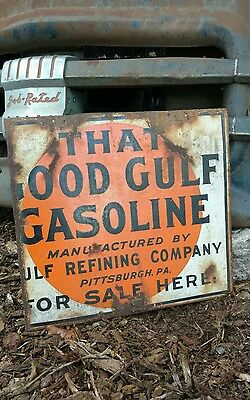 Gulf gas and oil flange sign ( double-sided porcelain )