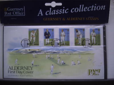 Alderney First Day Cover. Cricket theme.