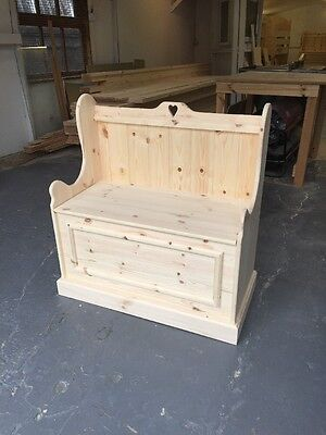 SALE SALE SALE 3ft Heart  solid Pine monks Bench with storage