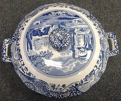 Spode Blue Italian Lidded Round Serving Dish/Tureen    To