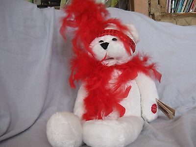 CHANTILLY LANE MUSICAL BEAR RED & WHITE  WITH TAGS! Sings!