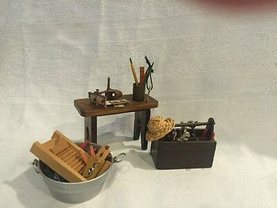 Lot Vintage DOLLHOUSE - Miniature  ACCESSORY COLLECTION Toolbox Stereo-view Etc