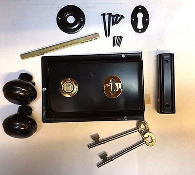 Satin BLACK Metal Rim Sashlock Lock & Knob Set Door Lever Knobs Spindle Shed