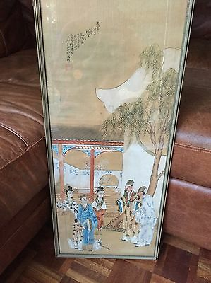 A glazed and framed Chinese classical painting on silk
