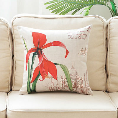 Cushion Cover Decorative Pillow Case Sofa Throw Vintage Red Orchid 18""