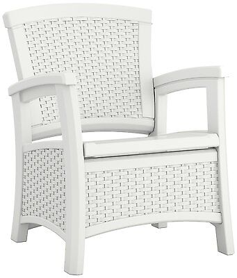 New Suncast ELEMENTS Outdoor Patio Furniture Club Storage Chair, White