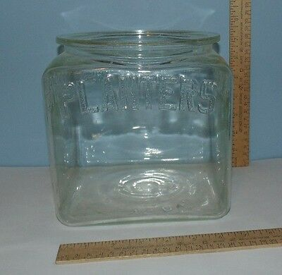 PLANTERS Clear Glass Jar - Square - NO LID - Embossed PLANTERS