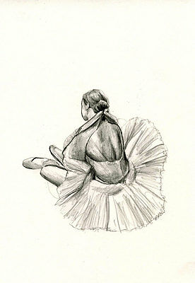 Ballerina 20 - Original Pencil Drawing Classical signed - 8x12 inch / A4  by E.C