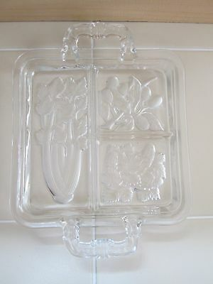 Vintage Frosted Art Glass Celery Olive Pickle Vegetable Appetizer Party Tray