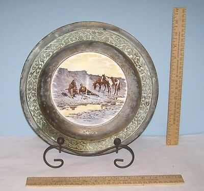 A New Year on the Cimarron - Frederic Remington - Porcelain center Metal Plate