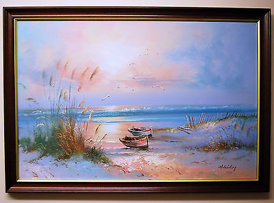 Large Original Oil Painting On Canvas Signed & Framed H.Gailey Seascape