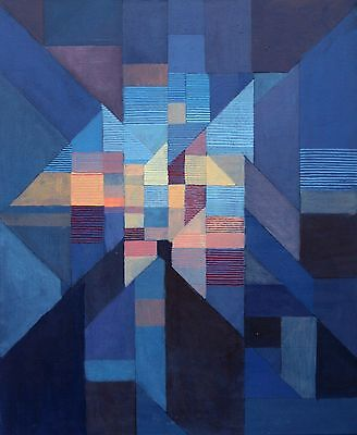 abstract contemporary modern cubist blue original acrylic painting on canvas