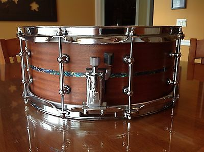 "Spaun 6"" x 14"" Mahogany Snare with Abalone Inlay"