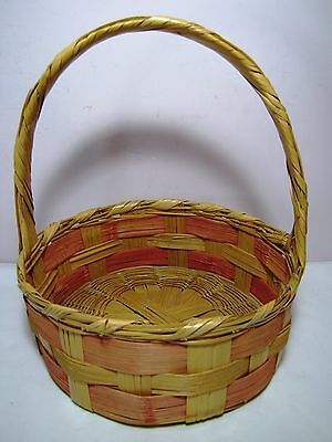 """Vtg Woven Wicker Round Easter Basket Egg Candy Gathering 12"""" Tall X 10"""""""