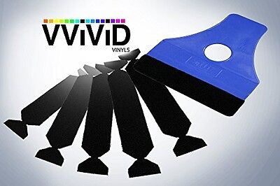 VViViD Blue Hand Applicator Squeegee With 5x Removeable Felt Tips