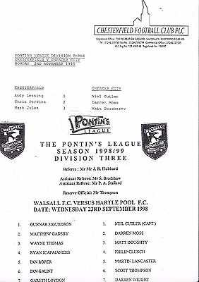 2 Chester City Fc Pontins League Aways 1998/99 V Walsall & Chesterfield