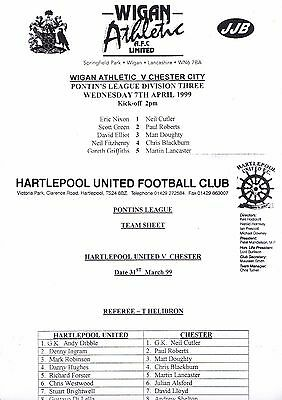 2 Chester City Fc Pontins League Aways 1998/99 V Wigan Athletic & Hartlepool