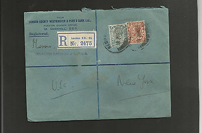 GB Postal History 1923 Registered London to New York
