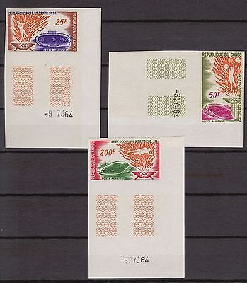 Congo 1964 18th Olympic games Tokyo Short Set Imperf Color Proof MNH