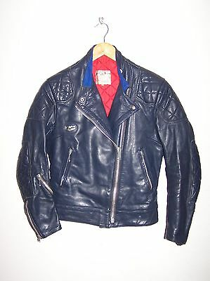 VINTAGE LEWIS LEATHERS AVIAKIT LADIES BLUE LEATHER MOTORCYCLE,BIKER JACKET s 36