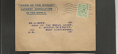 GB Postal History 1931 News of the World envelope London to Hartlepool