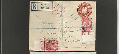 GB Postal History 1917 Registered Allonby to London Controls x2  **** BOTH TORN