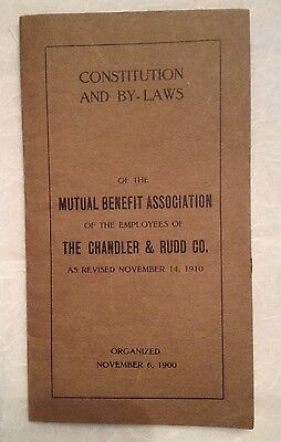 1910 Constitutions & By-Laws of the Mutual Benefit Association - Chandler & Rudd