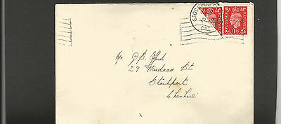GB Postal History 1939 1d scarlet and Bisect   Stockport ***stained envelope*