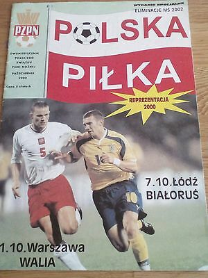 Poland v Wales programme European  Qualifiers 11.10.2000