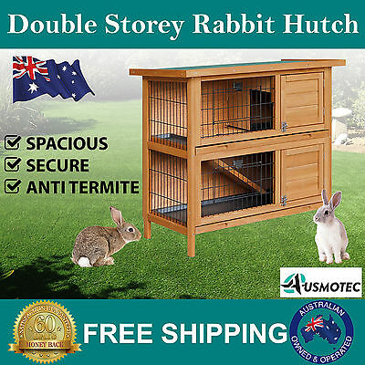 New Double Storey Rabbit Hutch 2 Two Story Tier Guinea Pig Ferret Cage Run