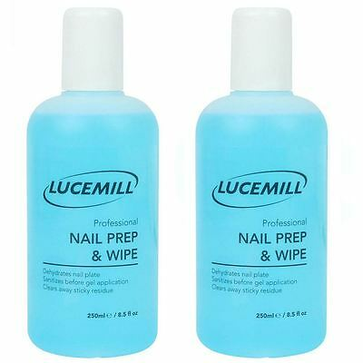 2 X ** 250Ml** Lucemill Professional Nail Prep & Wipe Gel Nail Polish Cleaner
