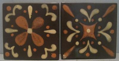 Rare Pair Stangl Stoneware Pottery Tiles In Modernist Design