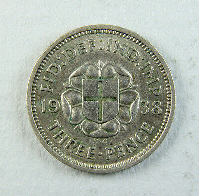 1938 George VI Silver Threepence 3d; Old album collection!